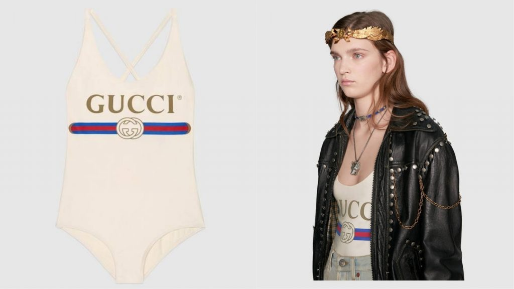 Gucci logo swimsuit at $380 MC Mosnar Communications